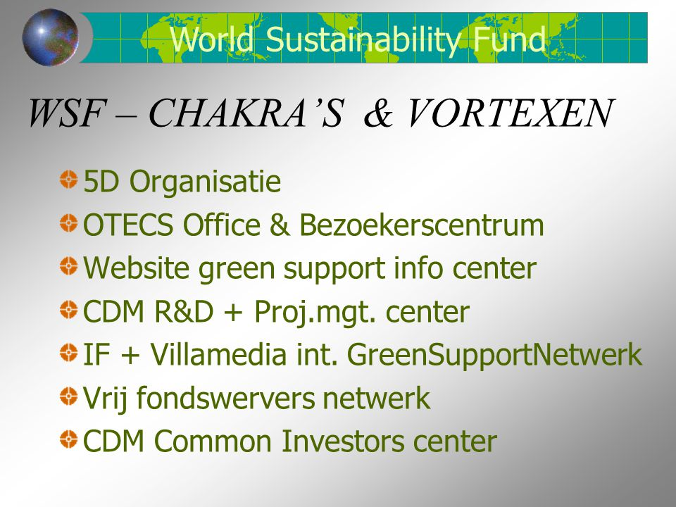 WSF – CHAKRA'S & VORTEXEN 5D Organisatie OTECS Office & Bezoekerscentrum Website green support info center CDM R&D + Proj.mgt. center IF + Villamedia