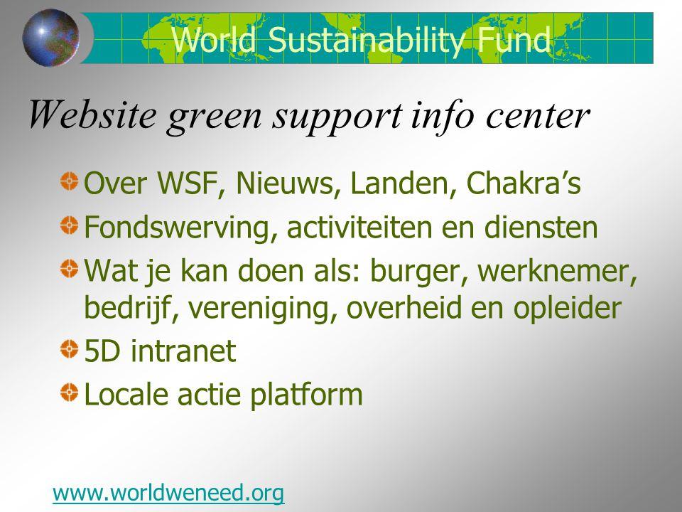 Website green support info center Over WSF, Nieuws, Landen, Chakra's Fondswerving, activiteiten en diensten Wat je kan doen als: burger, werknemer, bedrijf, vereniging, overheid en opleider 5D intranet Locale actie platform www.worldweneed.org World Sustainability Fund