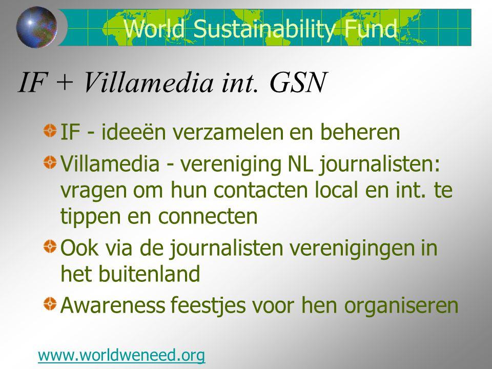 IF + Villamedia int. GSN IF - ideeën verzamelen en beheren Villamedia - vereniging NL journalisten: vragen om hun contacten local en int. te tippen en