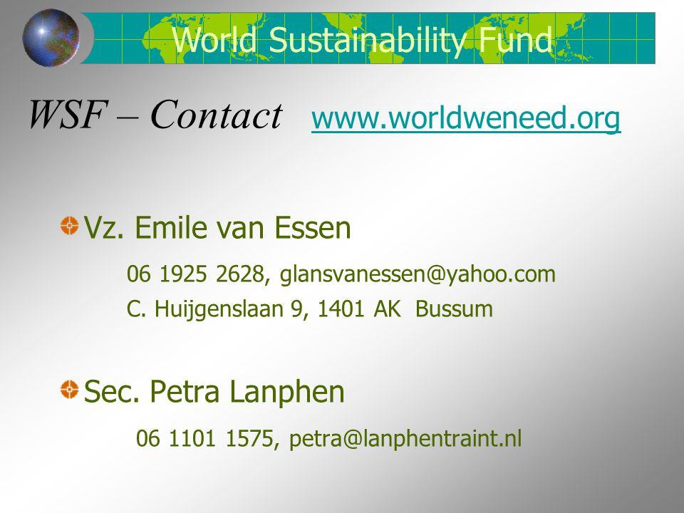 WSF – Contact Vz. Emile van Essen 06 1925 2628, glansvanessen@yahoo.com C. Huijgenslaan 9, 1401 AK Bussum Sec. Petra Lanphen 06 1101 1575, petra@lanph