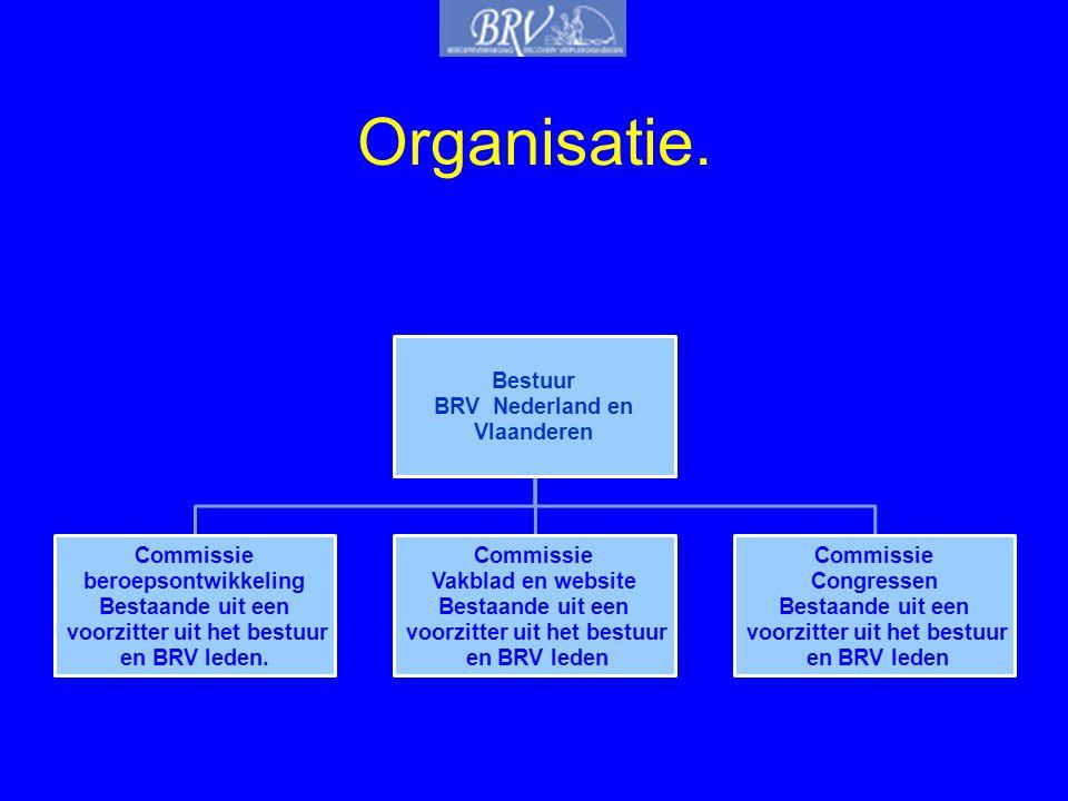 Organisatie. Bestuur BRV Nederland en Vlaanderen Commissie beroepsontwikkeling Bestaande uit een voorzitter uit het bestuur en BRV leden. Commissie Va