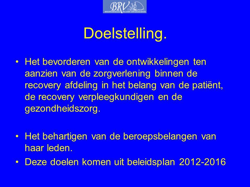 Doelstelling. •Het bevorderen van de ontwikkelingen ten aanzien van de zorgverlening binnen de recovery afdeling in het belang van de patiënt, de reco