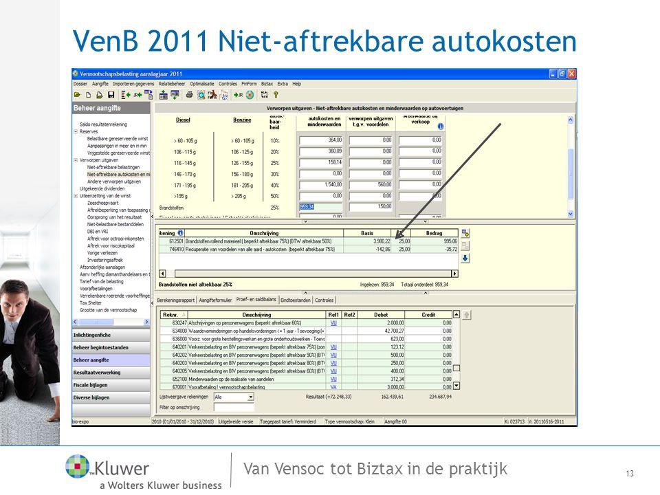 Van Vensoc tot Biztax in de praktijk VenB 2011 Niet-aftrekbare autokosten 13