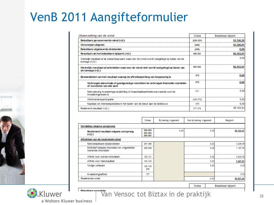 Van Vensoc tot Biztax in de praktijk VenB 2011 Aangifteformulier 28