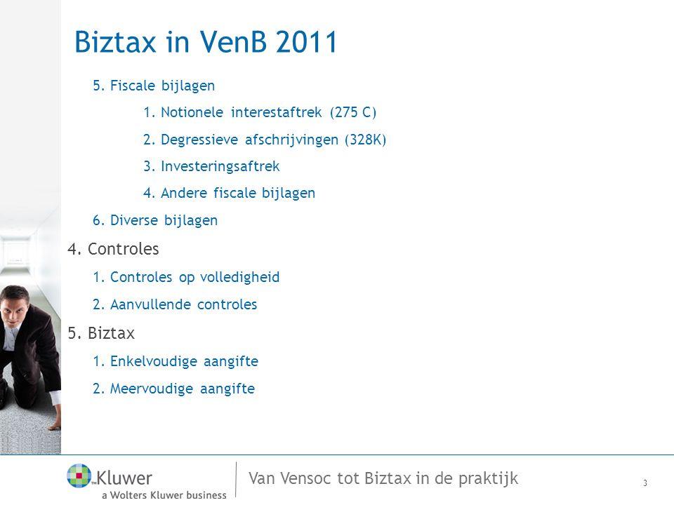 Van Vensoc tot Biztax in de praktijk Biztax in VenB 2011 5. Fiscale bijlagen 1. Notionele interestaftrek (275 C) 2. Degressieve afschrijvingen (328K)