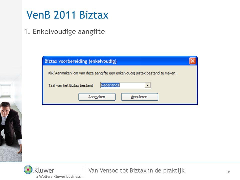 Van Vensoc tot Biztax in de praktijk VenB 2011 Biztax 1. Enkelvoudige aangifte 31