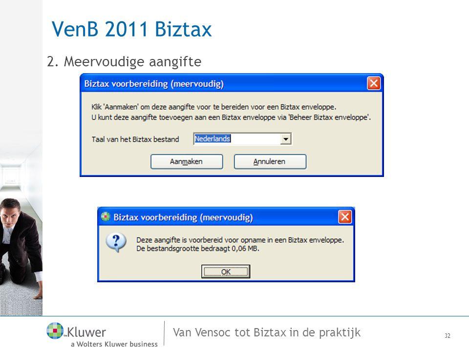 Van Vensoc tot Biztax in de praktijk VenB 2011 Biztax 2. Meervoudige aangifte 32