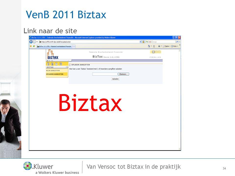 Van Vensoc tot Biztax in de praktijk VenB 2011 Biztax Link naar de site 34 BizTax Biztax