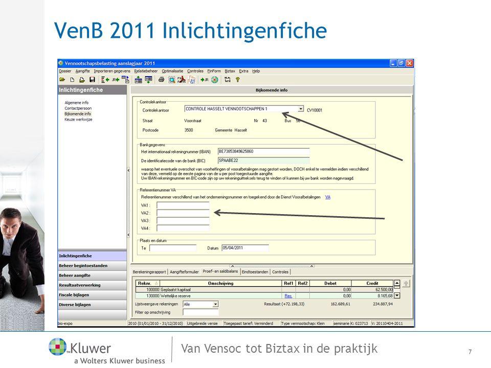 Van Vensoc tot Biztax in de praktijk VenB 2011 Tarief van de belasting 18