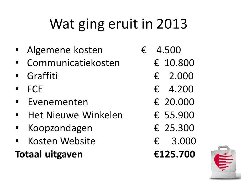 Wat ging eruit in 2013 • Algemene kosten€ 4.500 • Communicatiekosten€ 10.800 • Graffiti€ 2.000 • FCE€ 4.200 • Evenementen€ 20.000 • Het Nieuwe Winkele