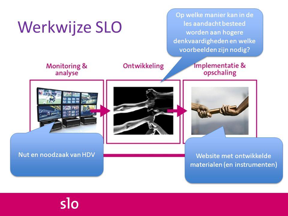 Werkwijze SLO Nut en noodzaak van HDV Op welke manier kan in de les aandacht besteed worden aan hogere denkvaardigheden en welke voorbeelden zijn nodig.