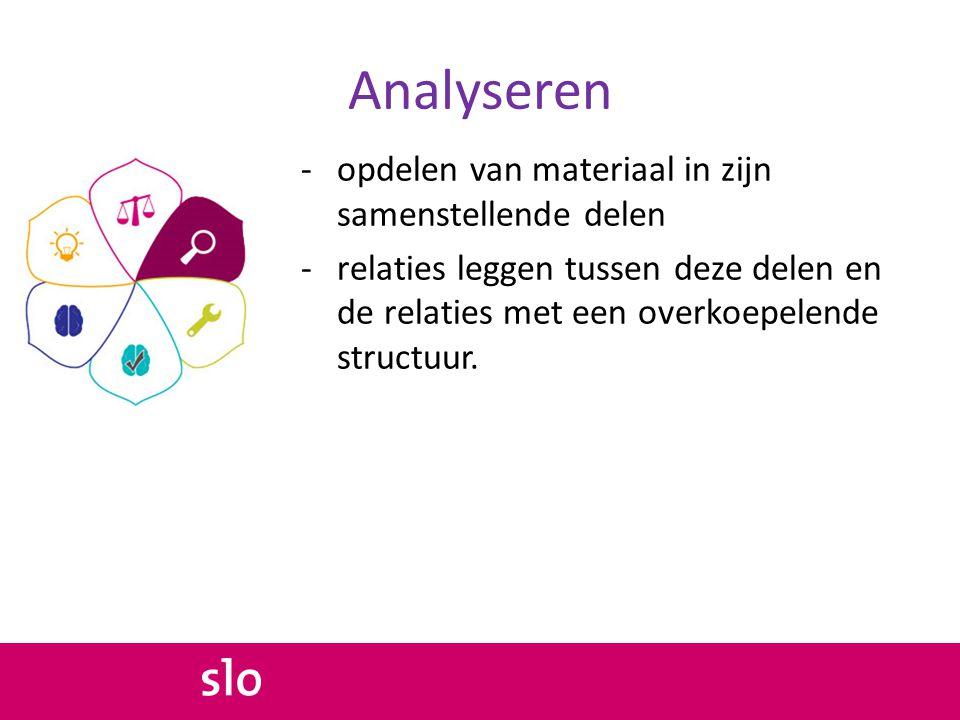 Analyseren -opdelen van materiaal in zijn samenstellende delen -relaties leggen tussen deze delen en de relaties met een overkoepelende structuur.