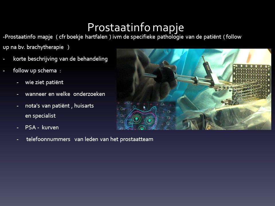 -Prostaatinfo mapje ( cfr boekje hartfalen ) ivm de specifieke pathologie van de patiënt ( follow up na bv.