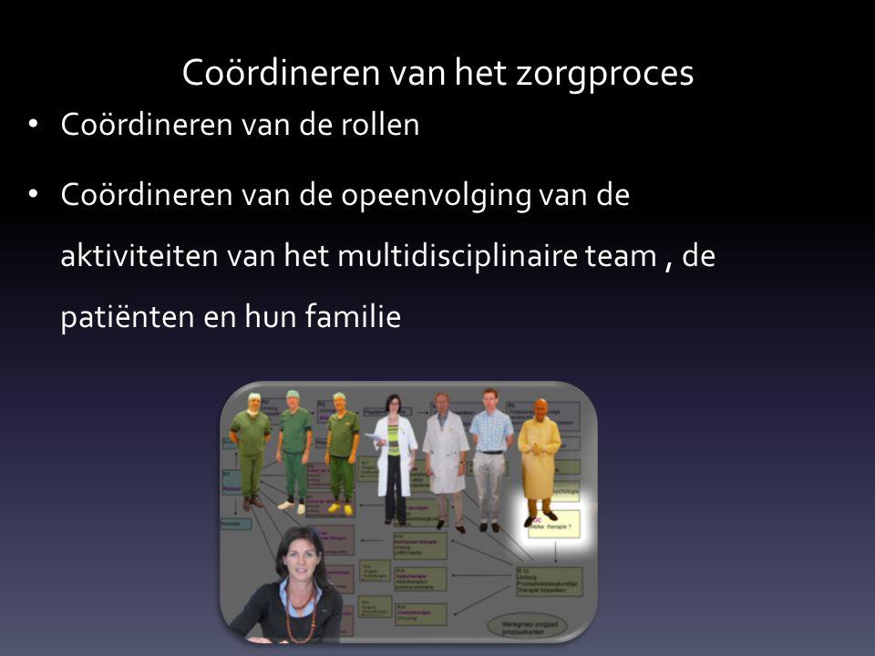 Coördineren van het zorgproces • Coördineren van de rollen • Coördineren van de opeenvolging van de aktiviteiten van het multidisciplinaire team, de patiënten en hun familie