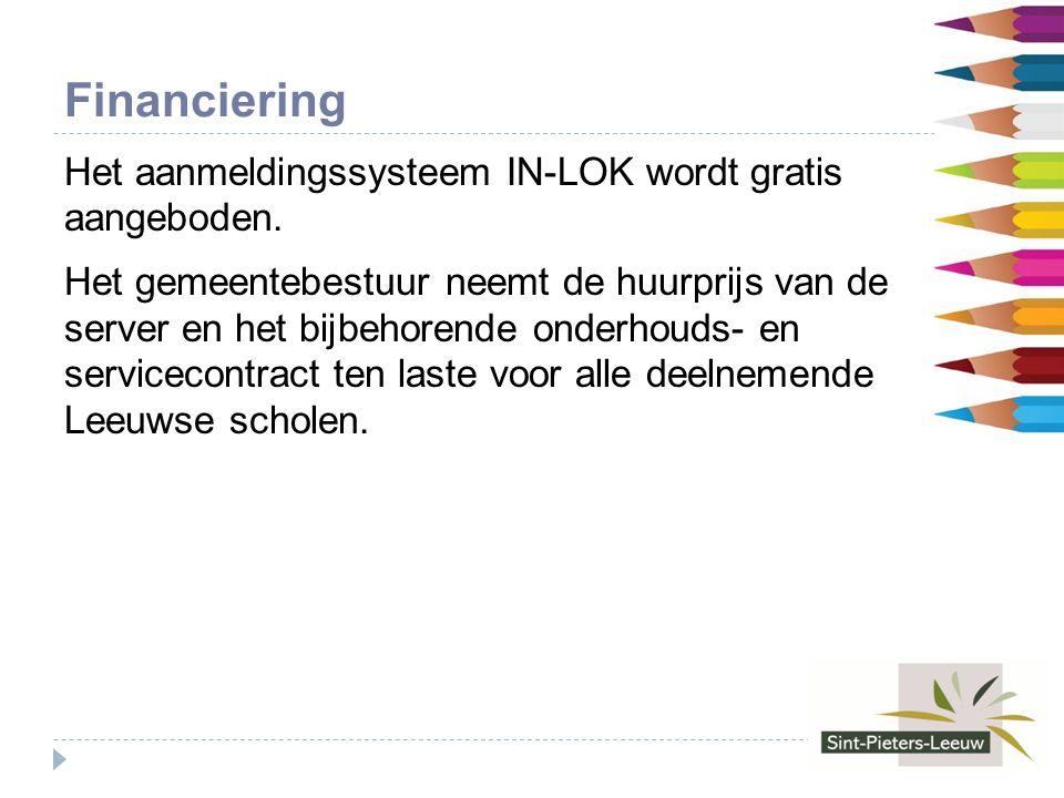 Financiering Het aanmeldingssysteem IN-LOK wordt gratis aangeboden.
