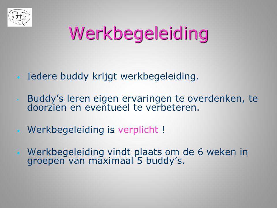 Werkbegeleiding • • Iedere buddy krijgt werkbegeleiding. • • Buddy's leren eigen ervaringen te overdenken, te doorzien en eventueel te verbeteren. • •