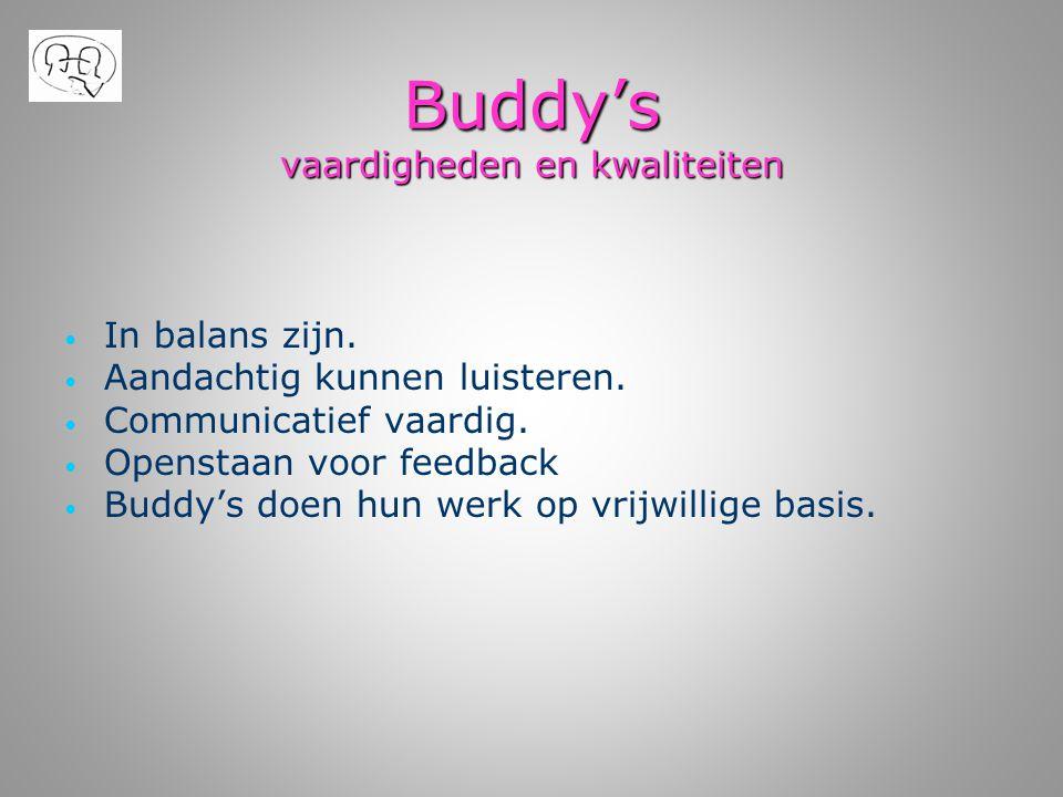 Buddy's vaardigheden en kwaliteiten • • In balans zijn. • • Aandachtig kunnen luisteren. • • Communicatief vaardig. • • Openstaan voor feedback • • Bu
