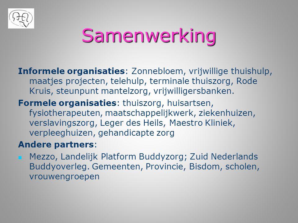 Samenwerking Informele organisaties: Zonnebloem, vrijwillige thuishulp, maatjes projecten, telehulp, terminale thuiszorg, Rode Kruis, steunpunt mantel