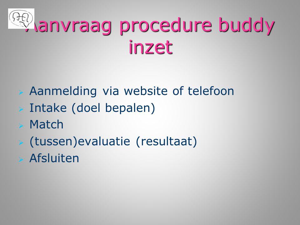 Aanvraag procedure buddy inzet   Aanmelding via website of telefoon   Intake (doel bepalen)   Match   (tussen)evaluatie (resultaat)   Afslui