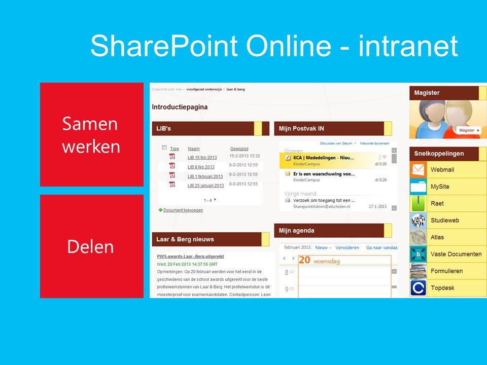SharePoint Online - intranet Samen werken Delen