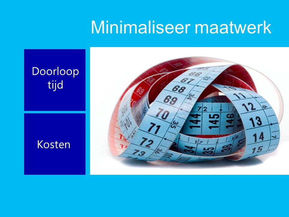 Minimaliseer maatwerk Doorloop tijd Kosten