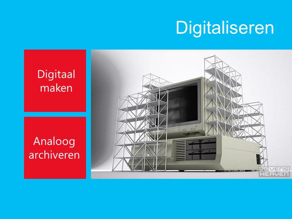 Digitaliseren Digitaal maken Analoog archiveren