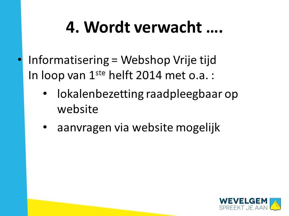 4.Wordt verwacht …. • Informatisering = Webshop Vrije tijd In loop van 1 ste helft 2014 met o.a.