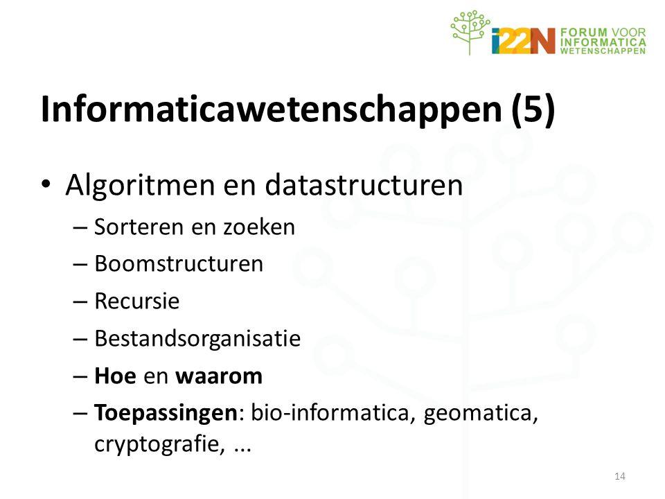 Informaticawetenschappen (5) • Algoritmen en datastructuren – Sorteren en zoeken – Boomstructuren – Recursie – Bestandsorganisatie – Hoe en waarom – Toepassingen: bio-informatica, geomatica, cryptografie,...