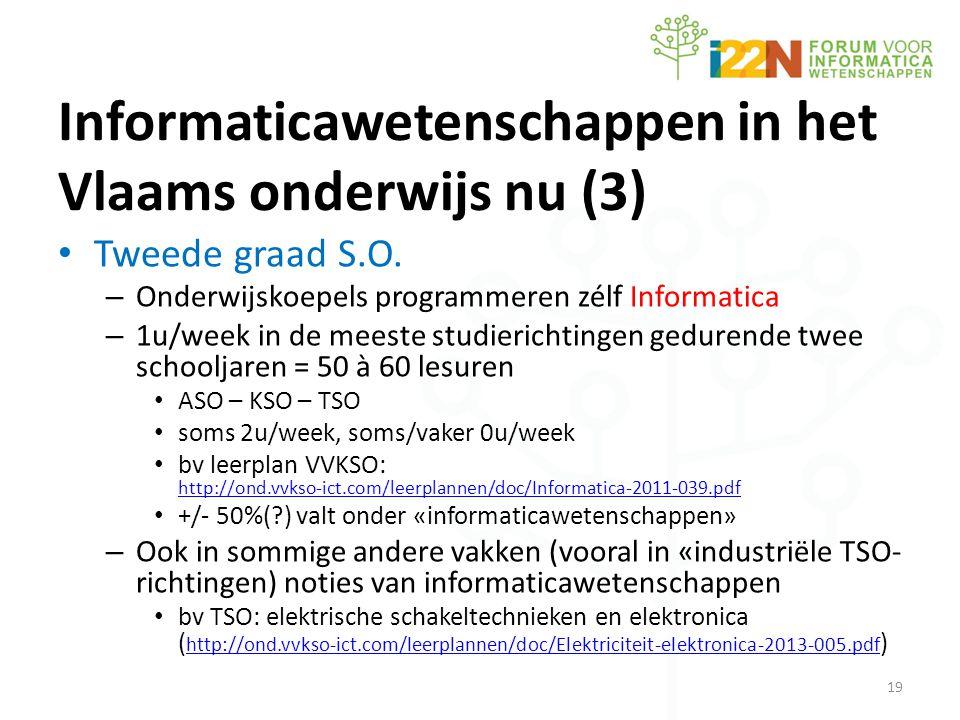 Informaticawetenschappen in het Vlaams onderwijs nu (3) • Tweede graad S.O.