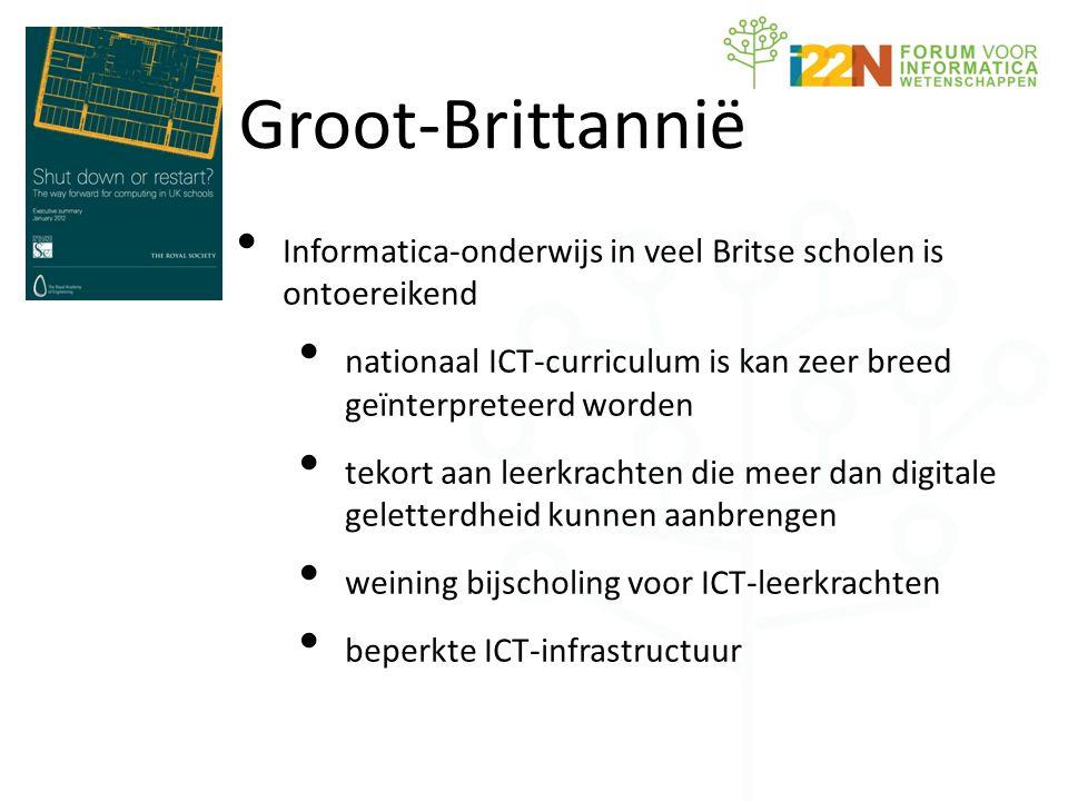 • Informatica-onderwijs in veel Britse scholen is ontoereikend • nationaal ICT-curriculum is kan zeer breed geïnterpreteerd worden • tekort aan leerkrachten die meer dan digitale geletterdheid kunnen aanbrengen • weining bijscholing voor ICT-leerkrachten • beperkte ICT-infrastructuur