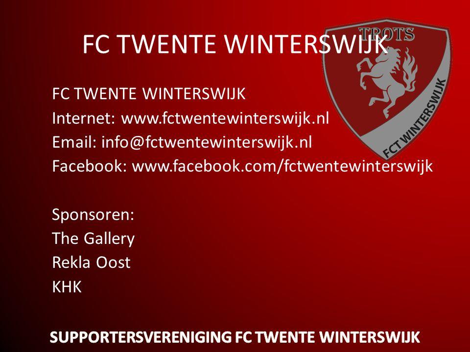 FC TWENTE WINTERSWIJK Internet: www.fctwentewinterswijk.nl Email: info@fctwentewinterswijk.nl Facebook: www.facebook.com/fctwentewinterswijk Sponsoren: The Gallery Rekla Oost KHK