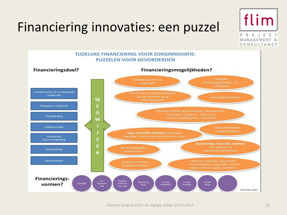 Financiering innovaties: een puzzel 12 Mednet congres 2013- De digitale dokter 10-10-2013