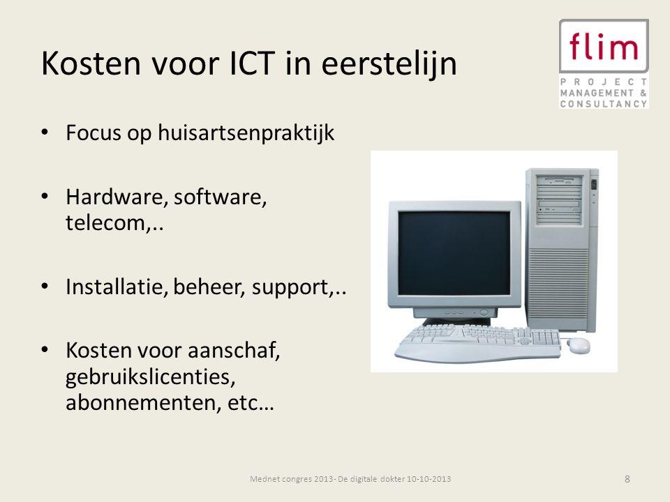 Kosten ICT per praktijk 9 Bron: Significant 2012 in opdracht van NZa Praktijkkosten- en inkomensonderzoek huisartsenzorg Mednet congres 2013- De digitale dokter 10-10-2013