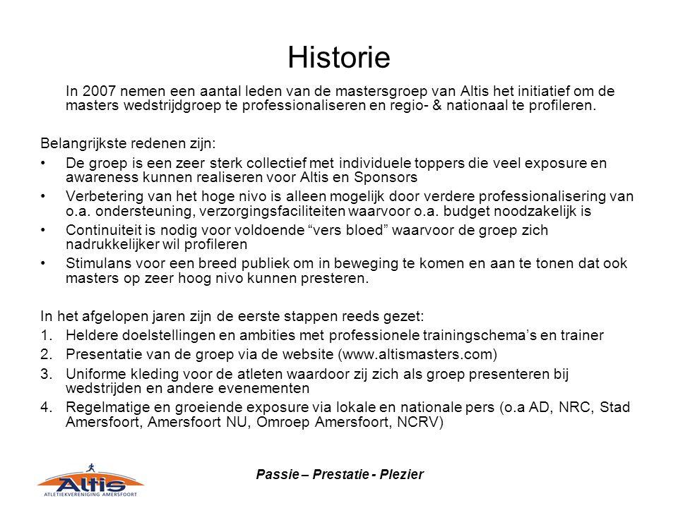 Passie – Prestatie - Plezier Historie In 2007 nemen een aantal leden van de mastersgroep van Altis het initiatief om de masters wedstrijdgroep te prof
