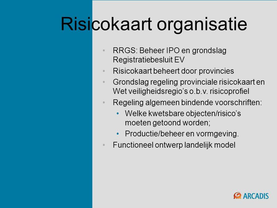 Risicokaart organisatie •RRGS: Beheer IPO en grondslag Registratiebesluit EV •Risicokaart beheert door provincies •Grondslag regeling provinciale risi