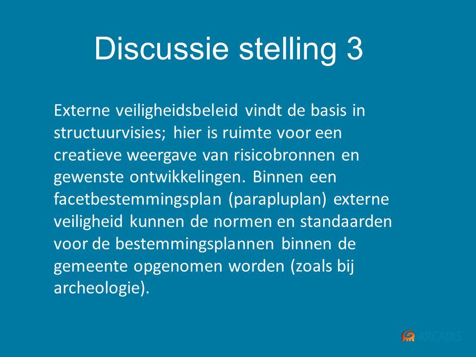 Discussie stelling 3 Externe veiligheidsbeleid vindt de basis in structuurvisies; hier is ruimte voor een creatieve weergave van risicobronnen en gewe