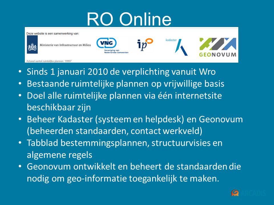 RO Online • Sinds 1 januari 2010 de verplichting vanuit Wro • Bestaande ruimtelijke plannen op vrijwillige basis • Doel alle ruimtelijke plannen via é