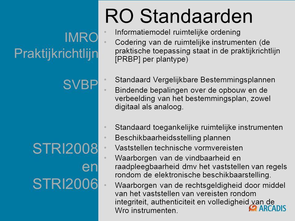 IMRO Praktijkrichtlijn SVBP STRI2008 en STRI2006 •Informatiemodel ruimtelijke ordening •Codering van de ruimtelijke instrumenten (de praktische toepas