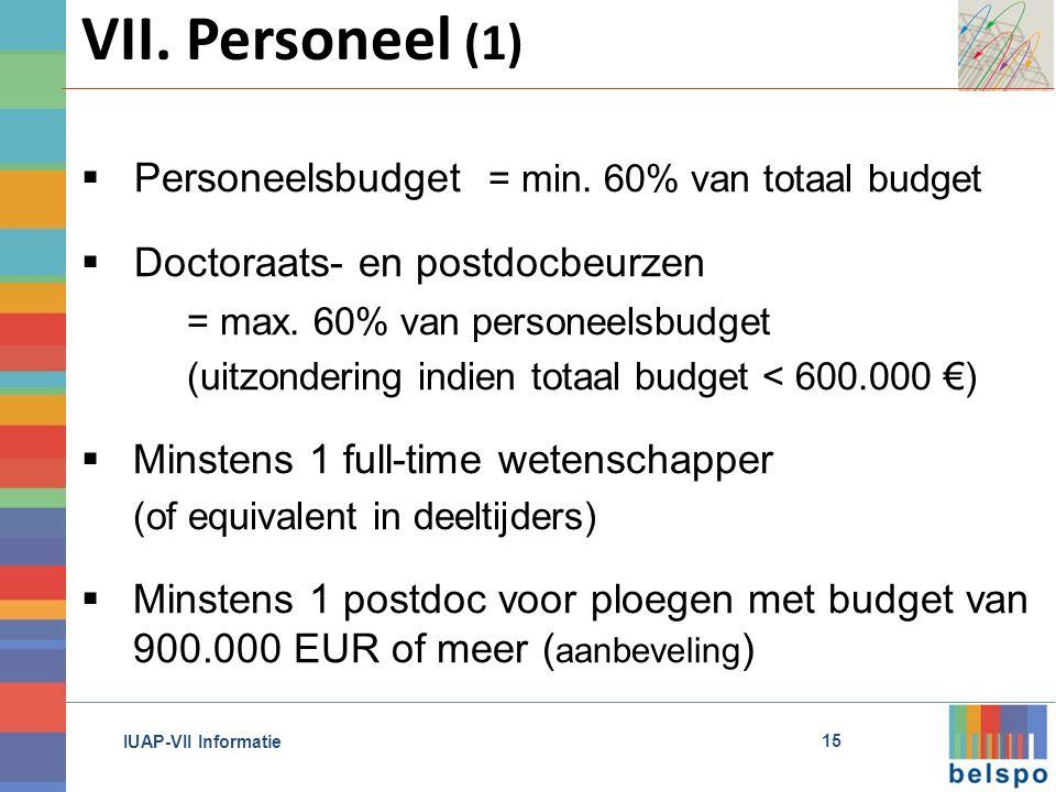 IUAP-VII Informatie VII. Personeel (1) 15  Personeelsbudget = min.