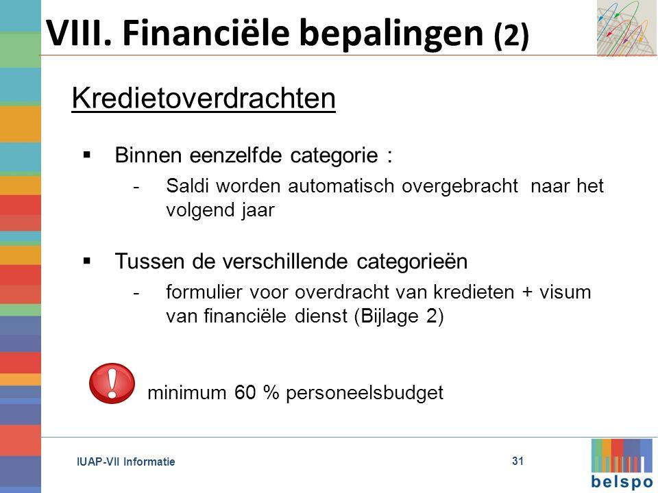 IUAP-VII Informatie VIII.