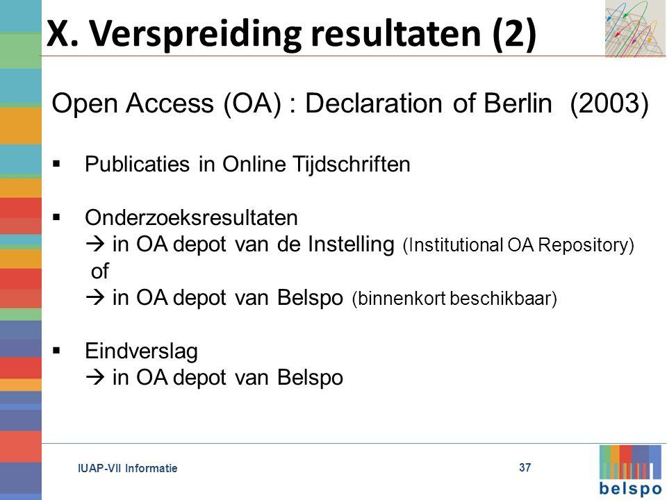 IUAP-VII Informatie X.