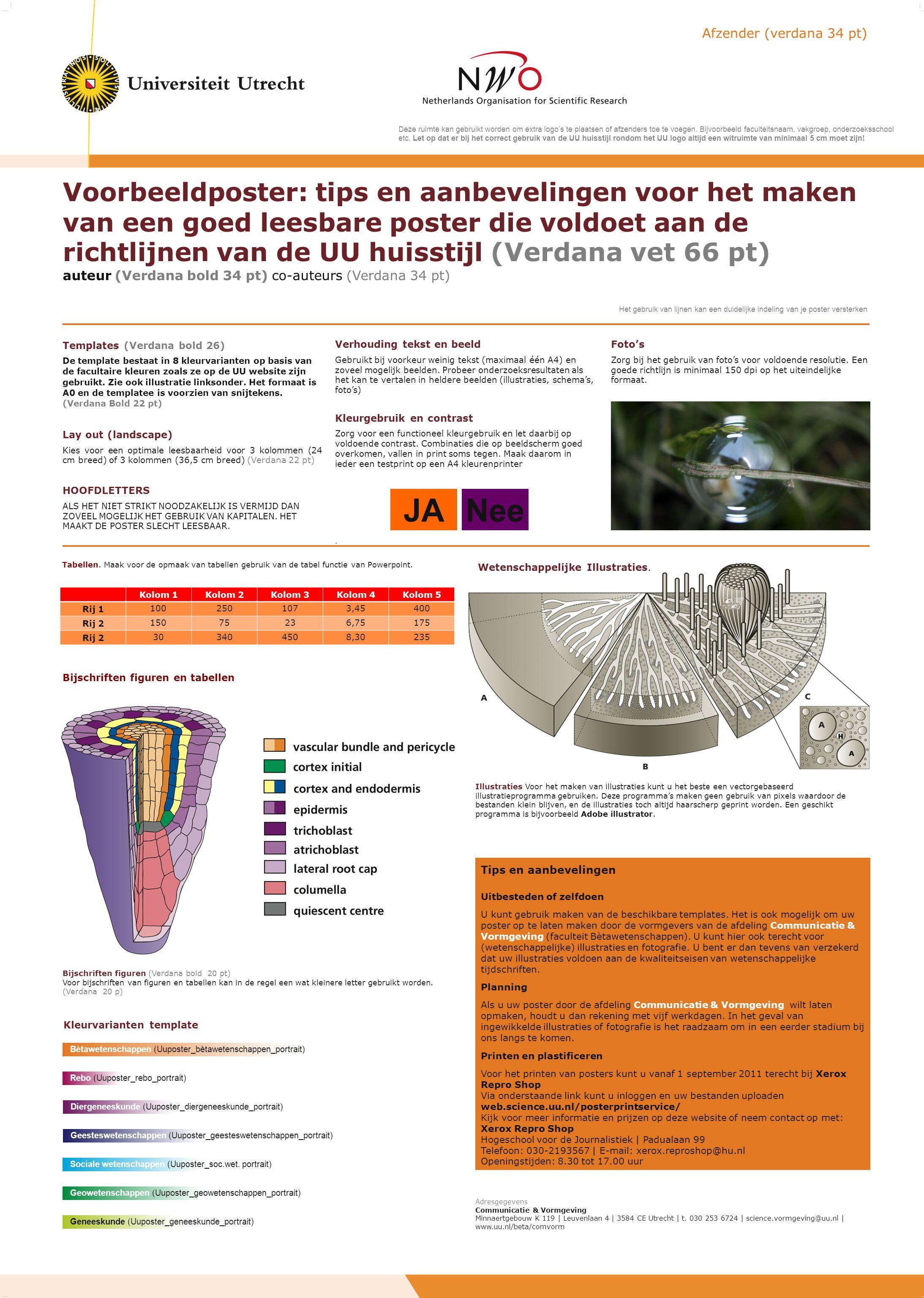 Voorbeeldposter: tips en aanbevelingen voor het maken van een goed leesbare poster die voldoet aan de richtlijnen van de UU huisstijl (Verdana vet 66
