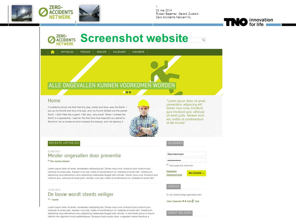 Screenshot website 23 mei 2014 Robert Bezemer, Gerard Zwetslo Zero Accidents Netwerk NL 1