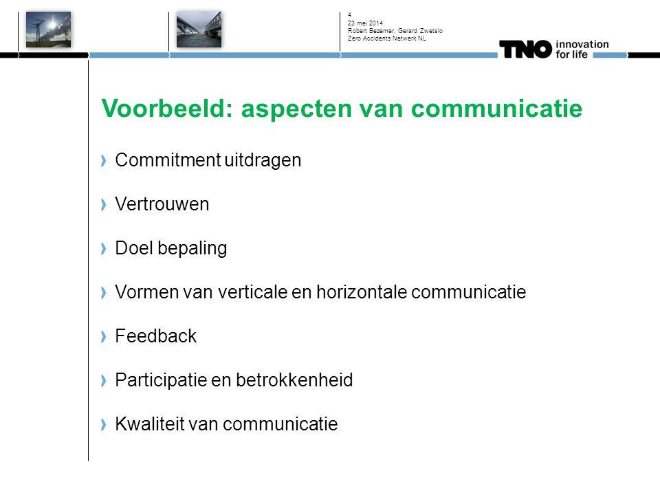 Voorbeeld: aspecten van communicatie Commitment uitdragen Vertrouwen Doel bepaling Vormen van verticale en horizontale communicatie Feedback Participatie en betrokkenheid Kwaliteit van communicatie 23 mei 2014 Robert Bezemer, Gerard Zwetslo Zero Accidents Netwerk NL 4