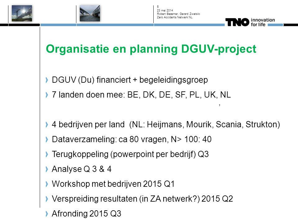 Organisatie en planning DGUV-project DGUV (Du) financiert + begeleidingsgroep 7 landen doen mee: BE, DK, DE, SF, PL, UK, NL 4 bedrijven per land (NL: Heijmans, Mourik, Scania, Strukton) Dataverzameling: ca 80 vragen, N> 100: 40 Terugkoppeling (powerpoint per bedrijf) Q3 Analyse Q 3 & 4 Workshop met bedrijven 2015 Q1 Verspreiding resultaten (in ZA netwerk ) 2015 Q2 Afronding 2015 Q3 23 mei 2014 Robert Bezemer, Gerard Zwetslo Zero Accidents Netwerk NL 5,