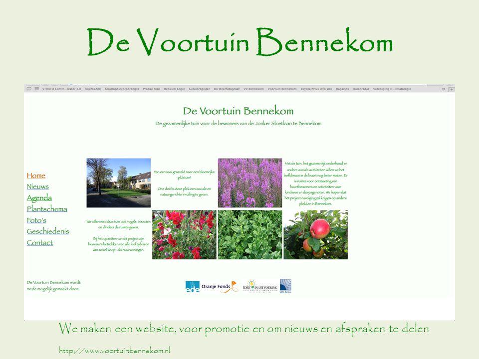 De Voortuin Bennekom We maken een website, voor promotie en om nieuws en afspraken te delen http://www.voortuinbennekom.nl
