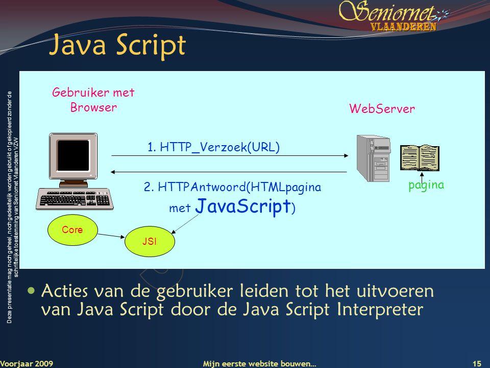 Deze presentatie mag noch geheel, noch gedeeltelijk worden gebruikt of gekopieerd zonder de schriftelijke toestemming van Seniornet Vlaanderen VZW Jav