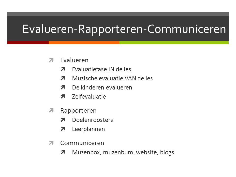Evalueren-Rapporteren-Communiceren  Evalueren  Evaluatiefase IN de les  Muzische evaluatie VAN de les  De kinderen evalueren  Zelfevaluatie  Rap