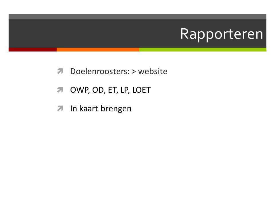 Rapporteren  Doelenroosters: > website  OWP, OD, ET, LP, LOET  In kaart brengen