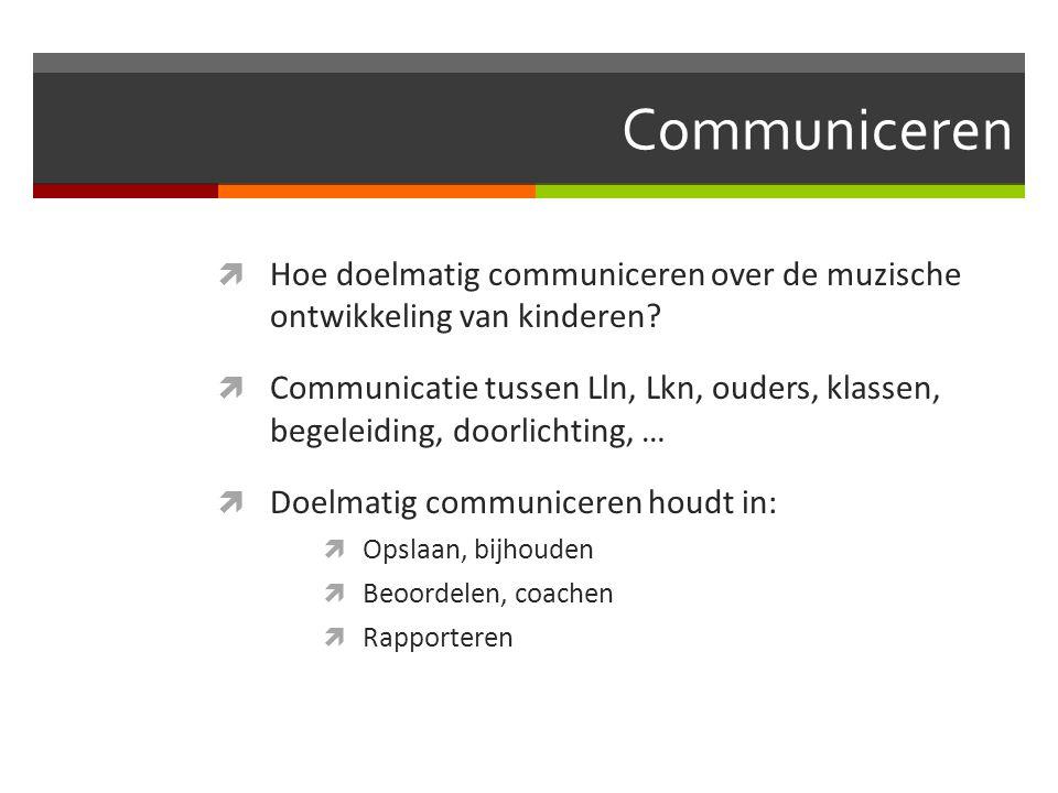 Communiceren  Hoe doelmatig communiceren over de muzische ontwikkeling van kinderen?  Communicatie tussen Lln, Lkn, ouders, klassen, begeleiding, do